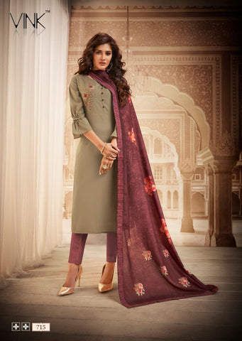 Vink Royale Vol 2 Maslin Handwork Kurti With Dupatta Collection