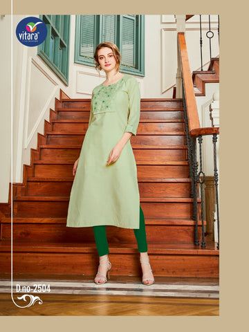 VITARA FASHION PRESENTS MIRROR LIVA FABRIC DESIGNER CASUALWEAR KURTI