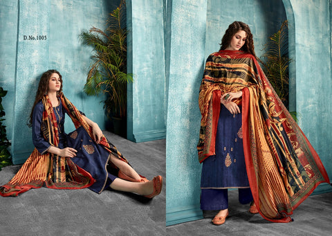 ZAIRA INAYAT JAM SATIN PRINT WITH DESIGNER EMBROIDERY SUIT COLLECTION