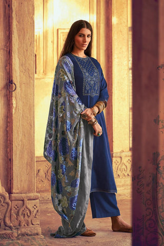 PASHMINA WITH EMBROIDERY VARSHA FASHIONS HIRAETH SILKWITH VELVET BRASSO DUPATTA SUIT IN SURAT MARKET