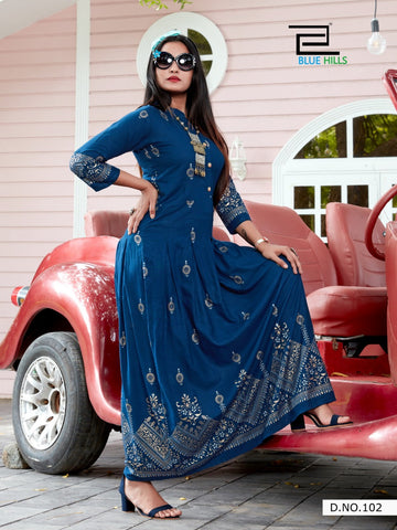 Blue Hills Launched Walkway Vol 5 Rayon Fabric Fancy Designer Gown Type Kurtis Collection