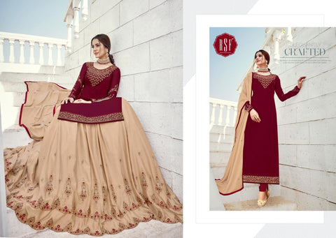 RSF LAUNCHES MANDORA VOL.2 SATIN GEORGETTE HEAVY WORK DRESS MATERIAL
