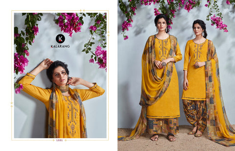 Kalarang Fashion Rangtali Jam Silk Embroidery Work Suit