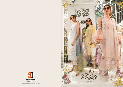 Shraddha Designer M Print Vol 2 Lawn Printed Embroidery Work Suit