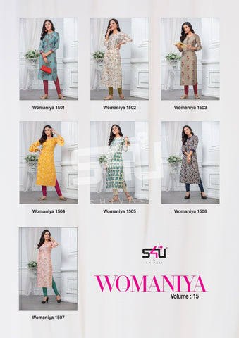 S4u By Shivali Presents Womaniya Vol 15 Stylish Partywear Kurti Collection
