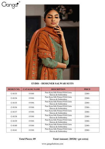GANGA LAUNCHES EYDIS KORA SILK DRESS MATERIAL WITH EMBROIDERY