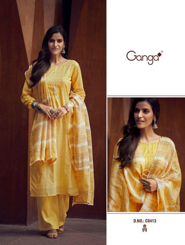 Ganga Suits Yana Cotton Jacquard Work Casual Collection Suits