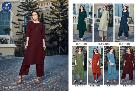 VITARA FASHION PRESENTS OLIVE DAILYWEAR KURTI WITH PLAZO COLLECTION