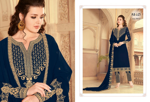 HOUSE OF RAAZI ZARKAN FESTIVE WEAR EMBROIDERED DRESS MATERIAL