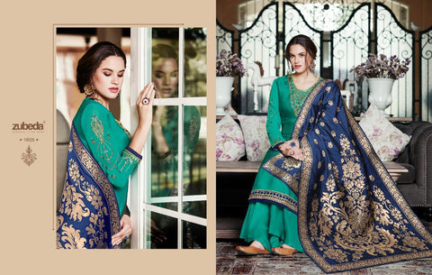 Zubeda Niara Fabric Satin Georgette Fancy Pakistani Salwar Suit
