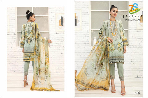 Zaura Hassan Farasha Pure jam Cotton Print With Embroidery