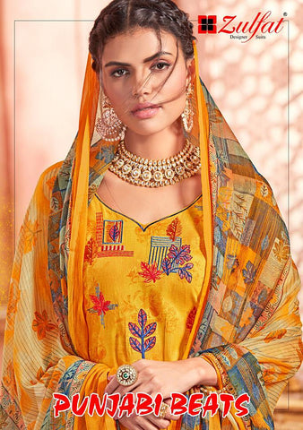 Zulfat Designer Suits Punjabi Beats Cotton Embroidery Printed Suits