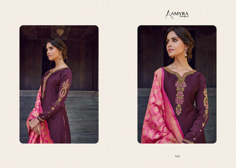 Amyra Designer Mannat Satin Georgette Embroided Diamond Work Suit