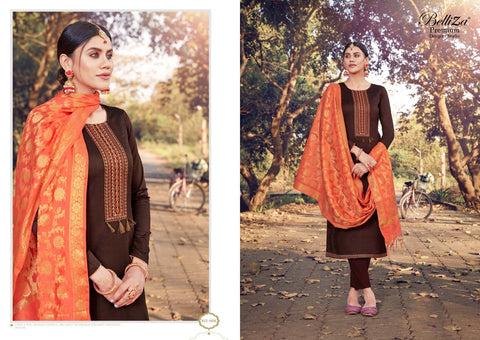 Belliza Shamia Beautifully Designed Jam Cotton Embroidered Salwar Suits