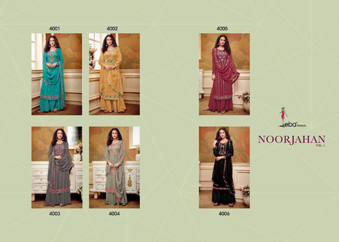 Eba Lifestyle Noorjahan Vol 1 Georgette Designer Embroidery Collection