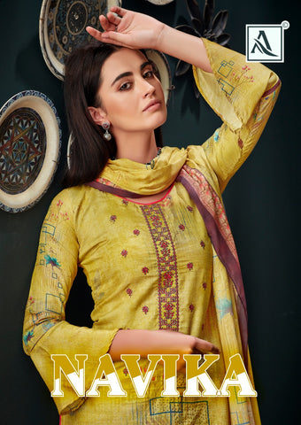 Alok Suits Presents Navika Collection Of Jam Printed Dress Material