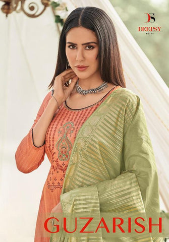 DEEPSY SUITS GUZARISH JAM SATIN EMBROIDERY SUIT COLLECTION