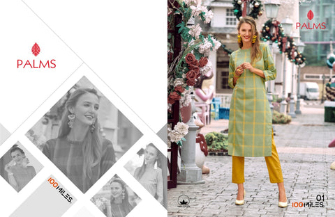 100 MILES BRINGS PALM PATTERNED DESIGNER KURTI COLLECTION