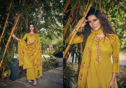 ANGROOP PLUS REYES PURE JAM SILK COTTON HEAVY EMBROIDERY SUIT