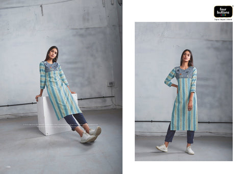 Four Buttons Silver Vol 5 Summer Kurti Collection With Bottom