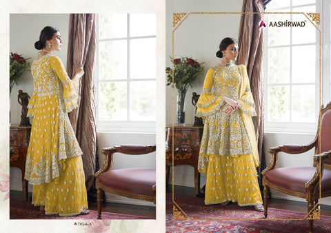 Aashirwad Creation Premium Sharara Net Heavy Dress Material
