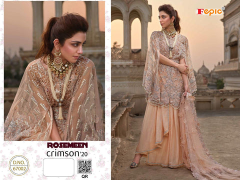 FEPIC ROSMEEN CRIMSON 20 PAKISTANI SALWAR SUIT GEORGETTE WEDDING WEAR