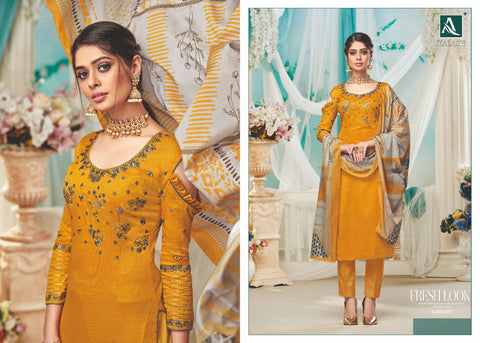 Alok Suits Preseents Kalash Designer Jam Cotton Dress Material