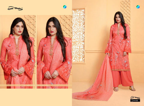 Your Choice Nargees Jam Silk Embroidered Suit With Plazzo