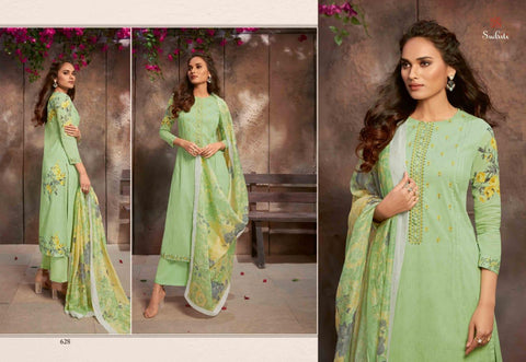 SUDRITI SAHIBA VINTAGE FLOWER COTTON EMBROIDERY SALWAR SUIT