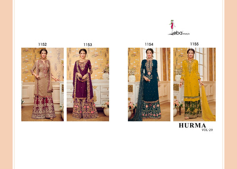EBA LIFESTYLE HURMA VOL 29 GEORGETTE KHATLI WORK HEAVY SHARAR SUIT