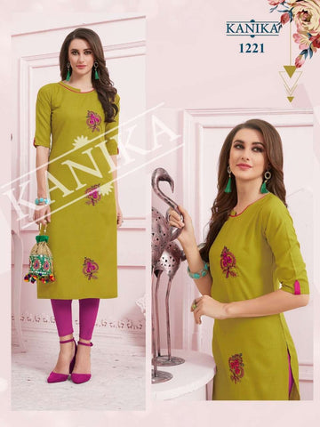 kanika Aditi Rubby Slub Emroidery Daily Wear Kurti Collection