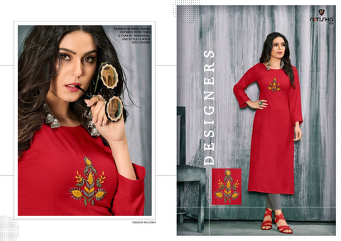 Nitisha Nx Winter Rayon Handwork Designer Kurti In Wholesale
