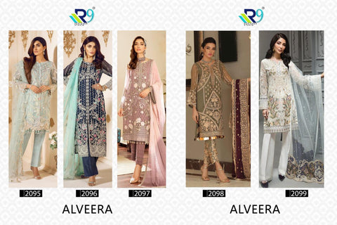 R9 Designer Alveera Georgette Pakistani Embroidered Collection Suits