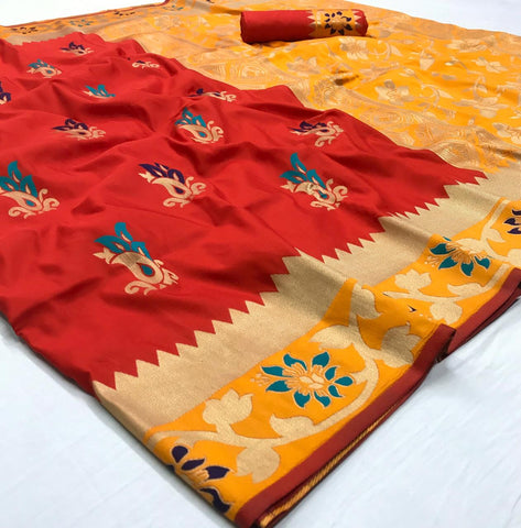 Rajyog Aakanksha Beautiful Flower Print Silk Saree