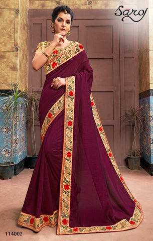 Saroj Presents Dark And Lovely Collection Of Designed Saree