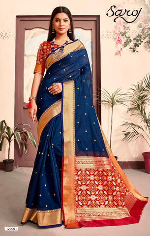 Saroj Matka Silk Saree Collection With Cotton Silk Blouse