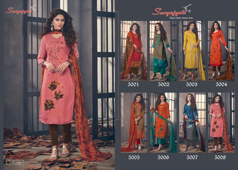 Suryajyoti Ziva Vol 5 Cotton Satin Casual Dress Material In Wholesale