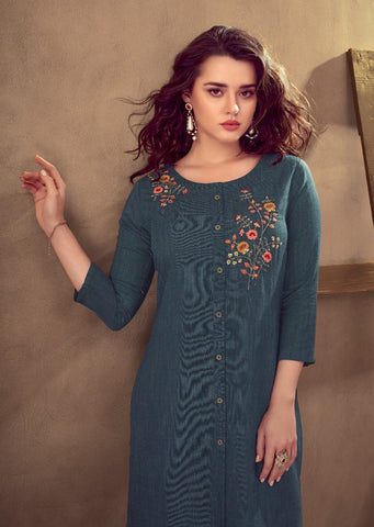 Vink Grace Viscose Cotton Embroidery Work Kurti Collection