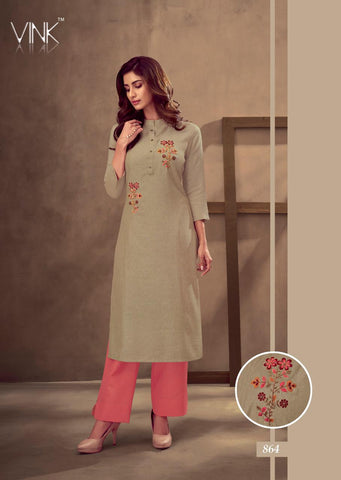VINK GRACE COTTON EMBROIDERY WORK KURTI COLLECTION