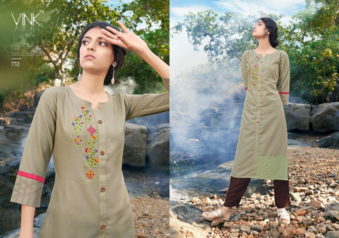 Vink Rio 4 with pants Cotton Casual Embroidery Work Kurties Colllection