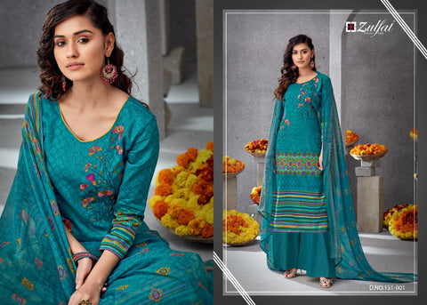Zulfat Presents Simran Pure Jam Satin Work Dress Material