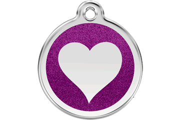 Hundetegn fra Red Dingo, Heart Glitter Purple