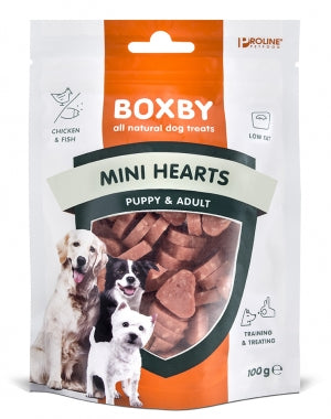 Boxby Puppy Snacks Mini Hearts, Bløde Hvalpe Godbidder 100g