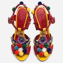 Load image into Gallery viewer, pom-pom shoes sandal heel | magoniasocialclub