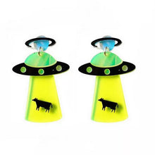 Load image into Gallery viewer, Spaceship Alien UFO Acrylic Earrings
