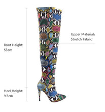Load image into Gallery viewer, Women Over The Knee Boots High Snake Print Stretch