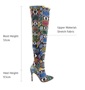 Women Over The Knee Boots High Snake Print Stretch