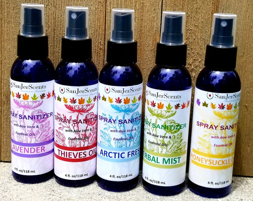 4 oz sanitizer spray bottles with color labels