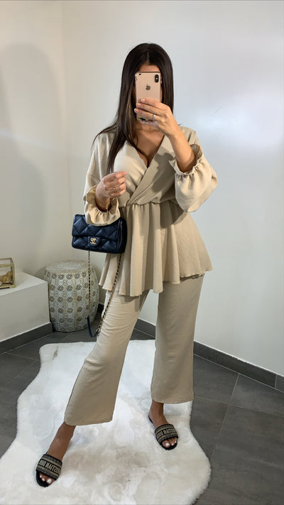 Ensemble pantalon 7/8 [ beige ]