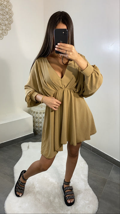 Robe col V [ marron ]